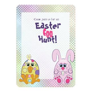 Chasse mignonne à oeufs de lapin et de poussin de carton d'invitation  12,7 cm x 17,78 cm