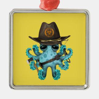 Chasseur de zombi de poulpe de bébé bleu ornement carré argenté