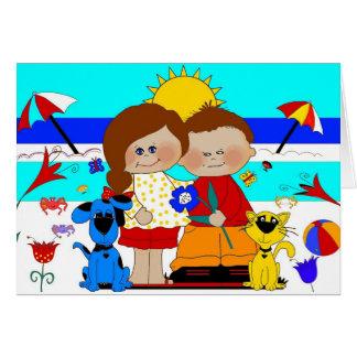 Chat 2 de chien de fille de garçon des meilleurs carte de vœux
