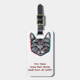 Chat 3d, 3d chat, chat noir et blanc étiquette à bagage