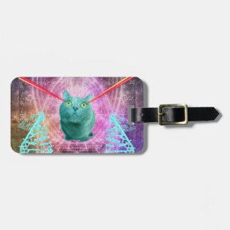 Chat avec des yeux de laser étiquette à bagage