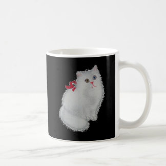 Chat blanc avec le ruban rouge mug
