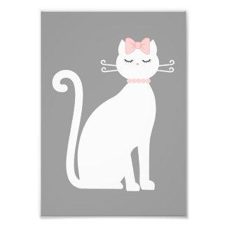Chat blanc mignon impression photo