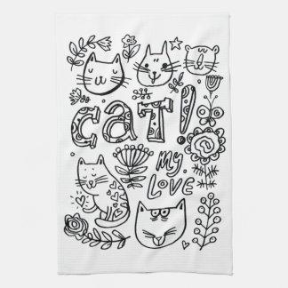 chat d'amour de serviette de cuisine