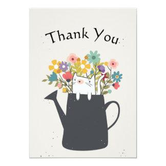Chat dans le Merci de boîte d'arrosage d'A à plat Carton D'invitation 12,7 Cm X 17,78 Cm