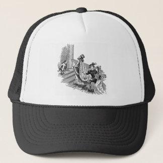 Chat dans les bottes à l'entrée de château casquette