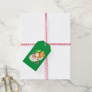 Étiquettes-cadeau Chat de Noël dans une étiquette de cadeau de