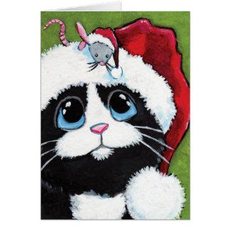 Chat de smoking et carte de Noël de fête de souris