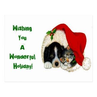 Chat de vacances de Noël et carte postale de chien