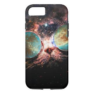 Chat frais de l'espace avec des verres de coque iPhone 7