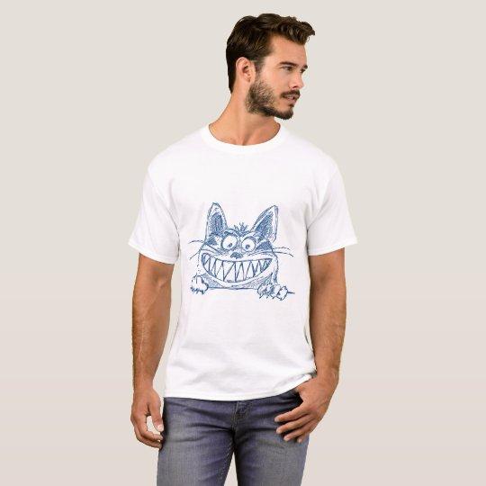Chat frais fou dans le bleu t-shirt