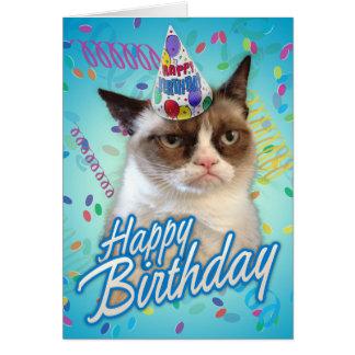 Chat grincheux de joyeux anniversaire carte