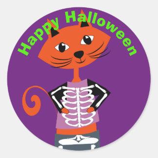 Chat heureux mignon de Halloween Sticker Rond