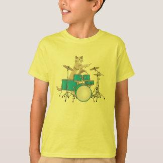 Chat jouant des tambours, bleu - T-shirt de