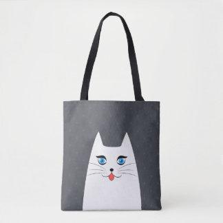 Chat mignon avec la langue collant sac