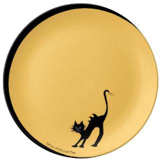 Chat noir de courbement et pleine lune assiette en porcelaine