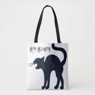 Chat noir de Halloween et sac fourre-tout à