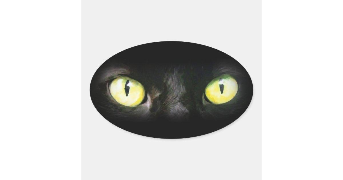 chat noir yeux verts jaunes lisse et ffrayant sticker ovale zazzle. Black Bedroom Furniture Sets. Home Design Ideas