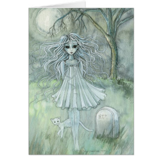 Chat paranormal de carte de Halloween du fantôme