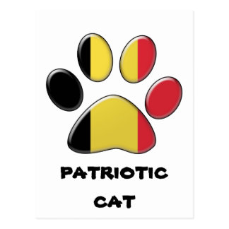 Chat patriotique belge carte postale