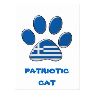 Chat patriotique grec carte postale
