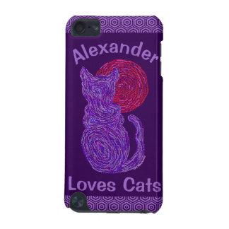 Chat pourpre et le chaton félin d'amoureux des coque iPod touch 5G