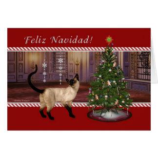 Chat siamois - carte de Noël espagnole de Feliz