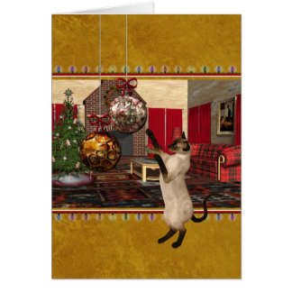 Chat siamois - Joyeux Noël - carte personnalisée