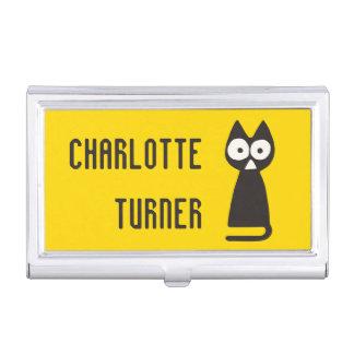 Chat symbolique de triangle noire jaune étuis pour cartes de visite