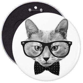 Chat vintage de hippie badge rond 15,2 cm