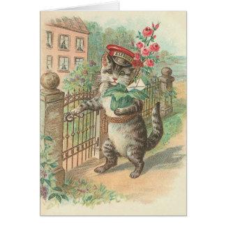 Chat vintage livrant la carte de note de fleurs