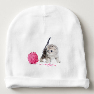Chaton drôle adorable Low Poly mignon Bonnet Pour Bébé