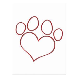 Chaton en forme de coeur de chiot de chat de chien carte postale