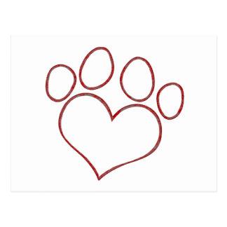 Chaton en forme de coeur de chiot de chat de chien cartes postales