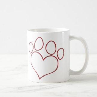 Chaton en forme de coeur de chiot de chat de chien mug