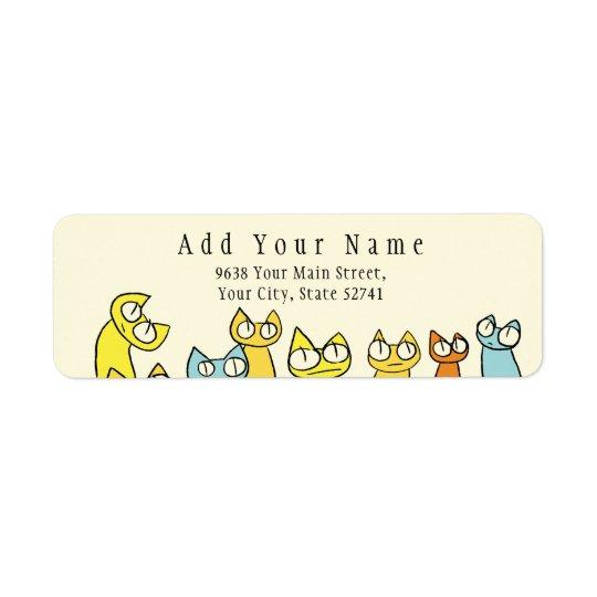 Chats colorés de sort de regarder étiquette d'adresse retour