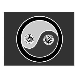 Chats dans l'équilibre 2 Yin Yang Carte Postale