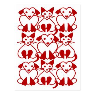 Chats de coeurs de Valentine et carte postale