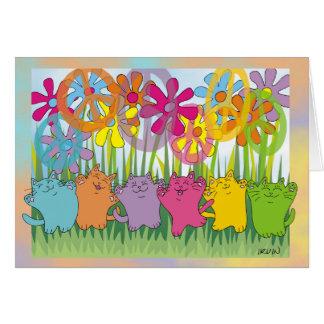 Chats de paix de flower power de bonne chance carte de vœux