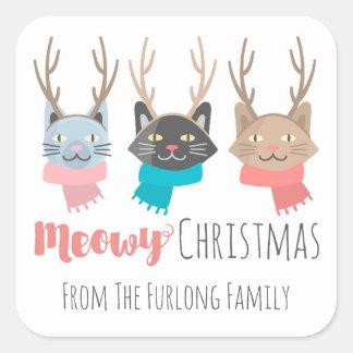 """Chats de vacances """"de Noël de Meowy"""" dans des Sticker Carré"""