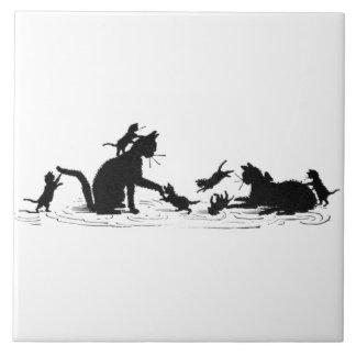 Chats et tuile de chatons grand carreau carré
