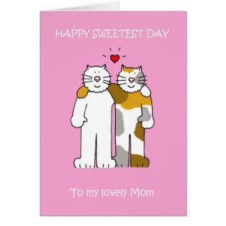 Chats mignons de maman heureuse de jour la plus carte de vœux