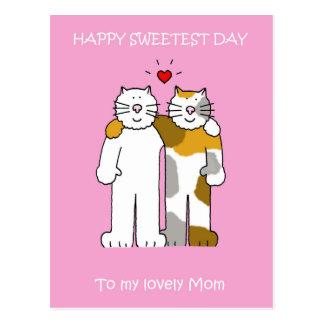 Chats mignons de maman heureuse de jour la plus carte postale