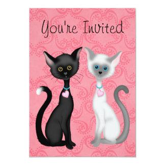 Chats mignons rose, noir, invitation blanc de Kity
