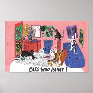 Chats qui peignent, art humoristique de la peintur affiche