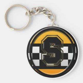Chauffeur de taxi initial de S Porte-clé Rond