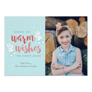 chauffez le carte photo de Noël de souhaits, carte Carton D'invitation 12,7 Cm X 17,78 Cm