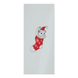 Chaussette blanche faite sur commande de rouge de carton d'invitation  10,16 cm x 23,49 cm