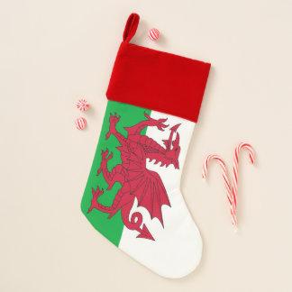 Chaussette De Noël Bas de Noël avec le drapeau du Pays de Galles
