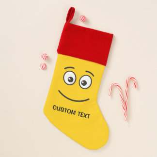 Chaussette De Noël Visage de sourire avec les yeux ouverts